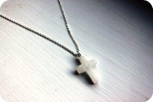 Image of Snowy Quartz Cross Pendant