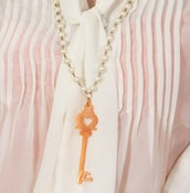 Image of Magical Key in Peach on Long Pearls - made with magical silk effect acrylic!