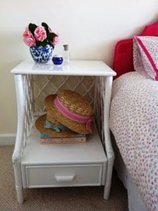 Image of White Cane Bedside Table