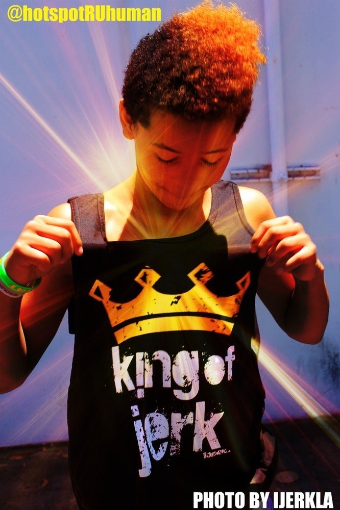 Image of KING OF JERK TANK TOP BLACK AND YELLOW