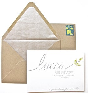 Image of lucca letterpress announcement