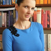 Image of Bright Blue Peacock Knit Jersey Top w Black Lace & Boat Neck