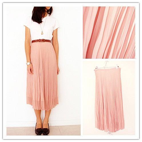malt dusty pink pleated maxi skirt