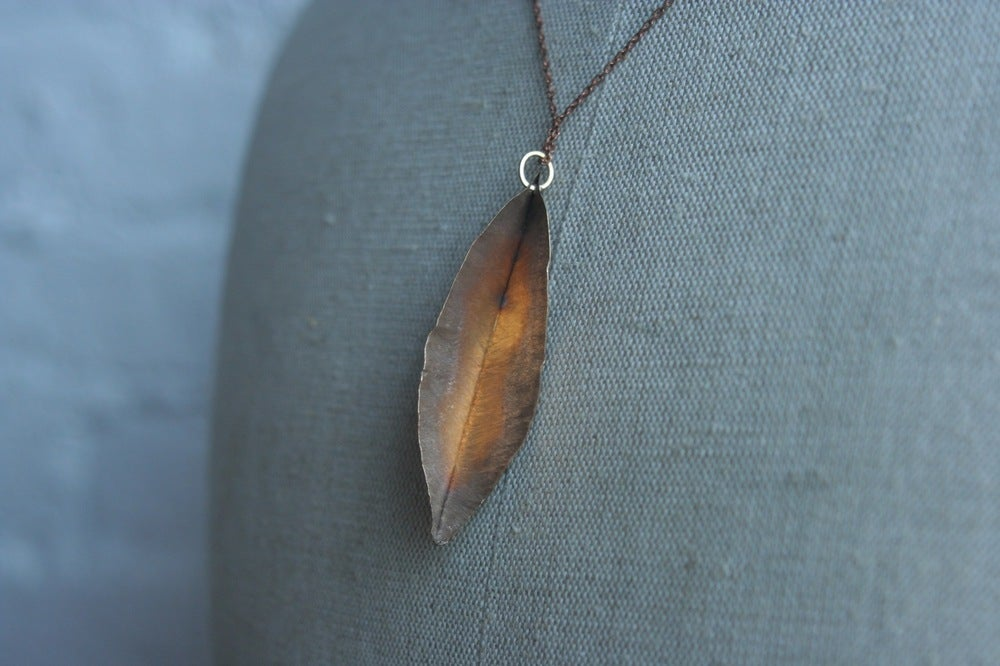 Image of Brass forge leaf pendant