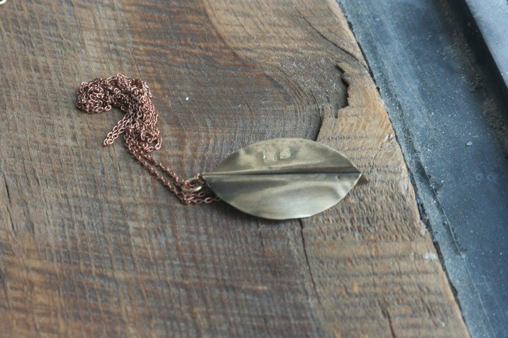 Image of Brass forge leaf pendantl #2