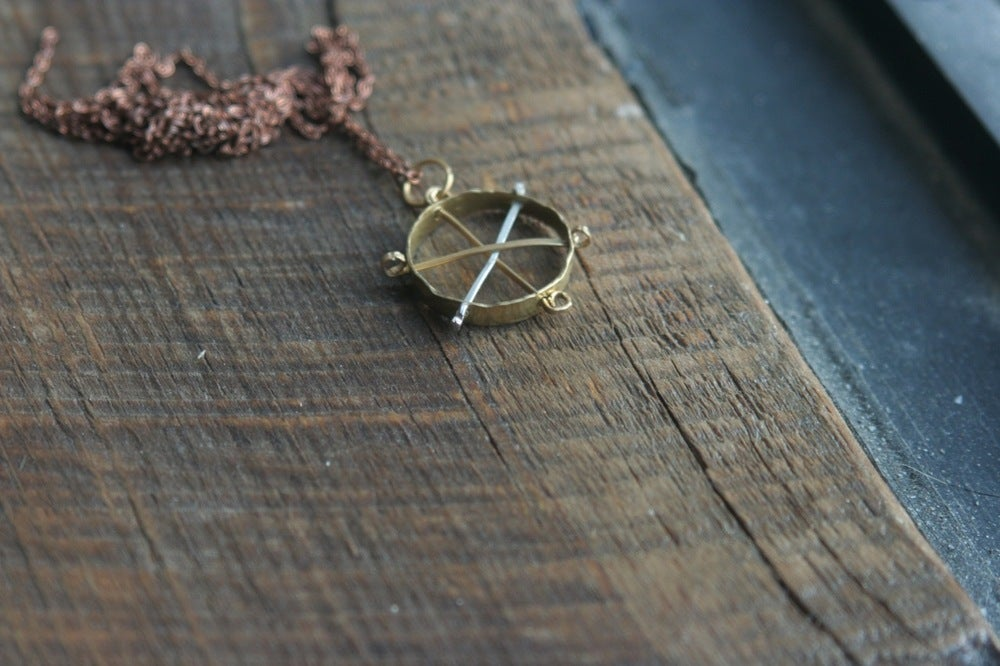 Image of Brass wheel pendant