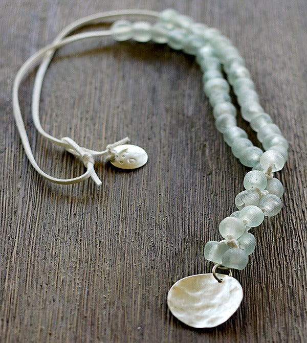 Image of Chunky Bead Necklace, Seaglass-white