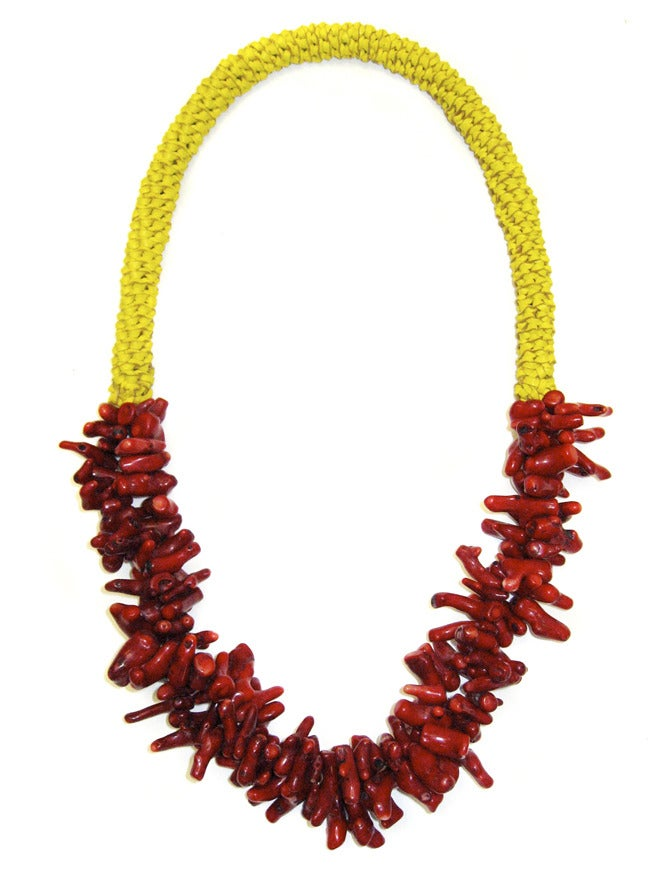Image of Limited Edition Red Coral Neckpiece on Yellow Leather- 50% off