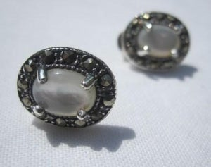 Image of Sterling Silver Marquisette Stud Earrings