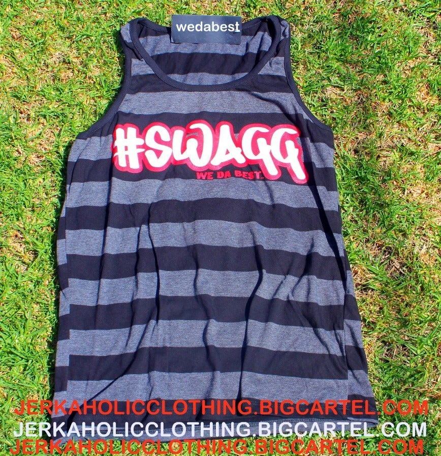 "Image of SUPER LIMITED BLACK AND GREY ""SWAGG TANK ""TOP"