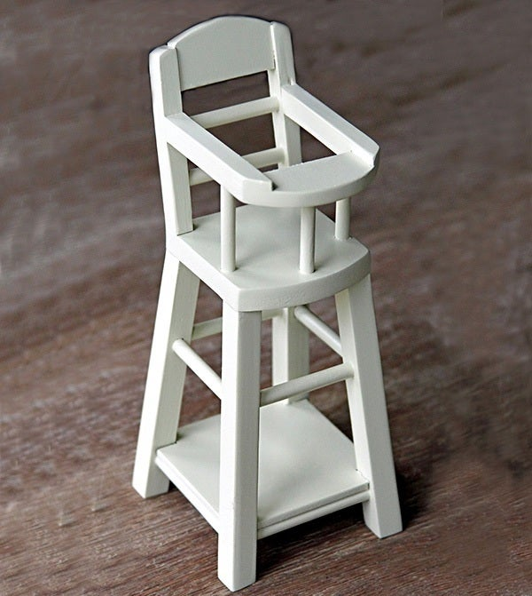 Image of Wooden High Chair, White