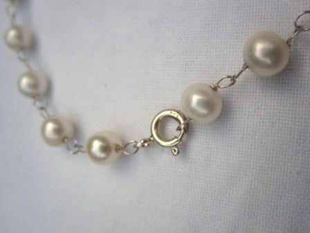 Image of Sterling Silver Costume Pearl Anklet