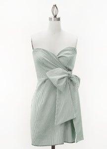 Image of Judith March Green Seersucker Bow Dress