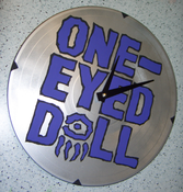 Image of One-Eyed Doll x DM -Blue on Black - Custom Record Clock