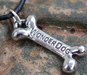 "Image of ""WonderDog"" PEWTER Pendant on expresso cord"