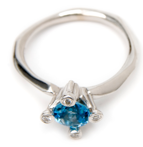 Image of Blue Topaz and Diamond 4 Prong Ring