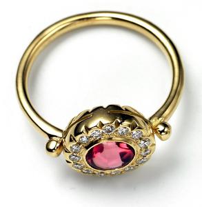 Image of Pink Tourmaline and Diamond Ring