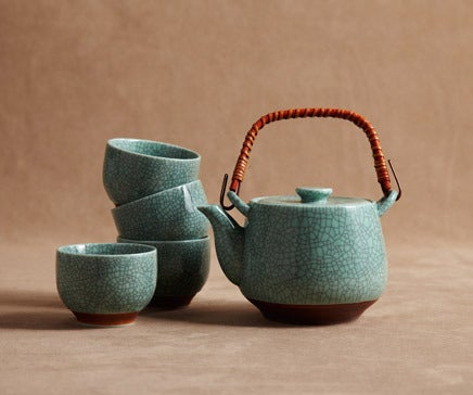 Image of Turquoise Crackle Glazed Ceramic Tea Set with Woven Bamboo Handle BC-032