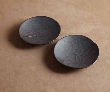 Image of Pair of Round Ceramic Black Oxidized Side Dishes BC-019