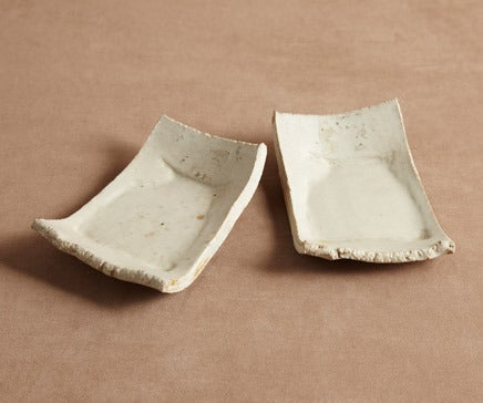 Image of Pair of Vintage Handthrown Glazed Clay Side Plates BC-024