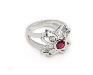 Image of Ruby and Diamond Flower Ring