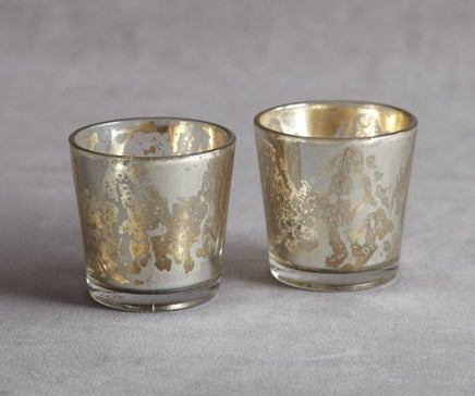 Image of Pair of Silvered Glass Mirrored Molton Votives II BC-055