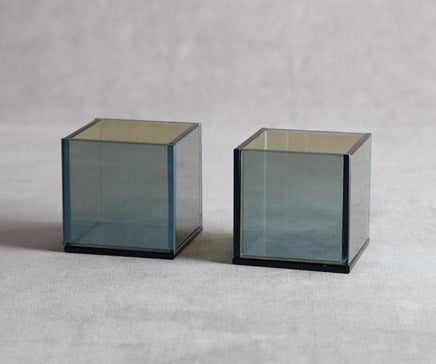 Image of Pair of Opaline Mirrored Glass Cube Votives BC-061