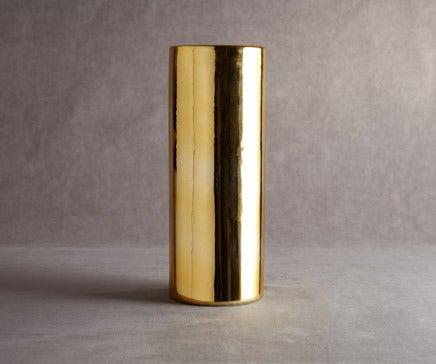 Image of Gold Glazed Porcelain Cylindrical Vase BC-068