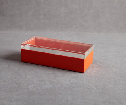 Image of Orange Lacquer and Lucite Box BC-088