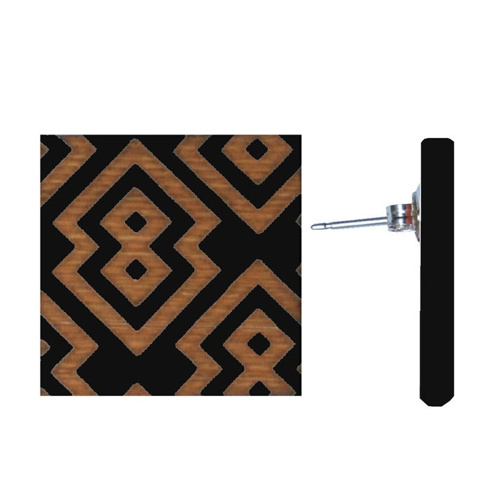 Image of Etched wooden square Izzie stud various colours