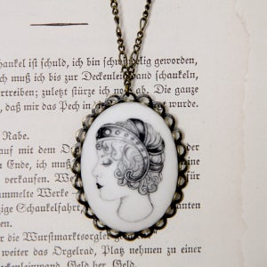 Image of Angelica Illustrated Porcelain Pendant