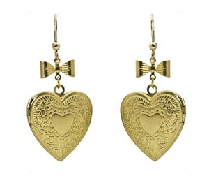 Image of Retro Heart Locket Earrings
