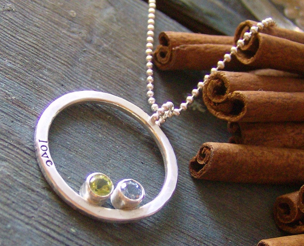 Image of Gem stone eternity ring... hand stamped fine and sterling silver gem stone necklace