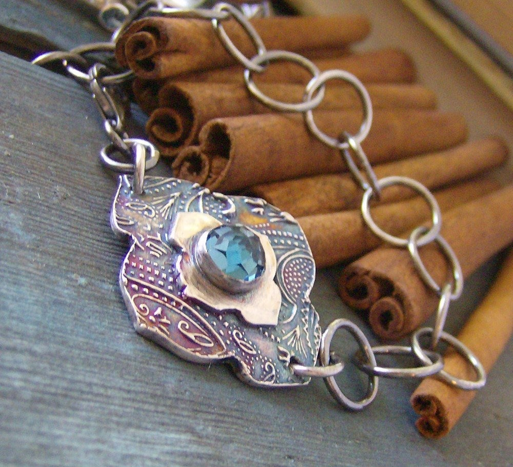Image of Moroccan Twilight... hand stamped fine silver and gem stone bracelet