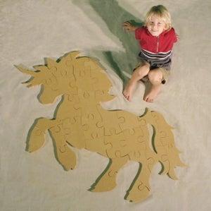 Image of Unfinished READY TO PAINT Wooden Animal Puzzle Unicorn Cutout