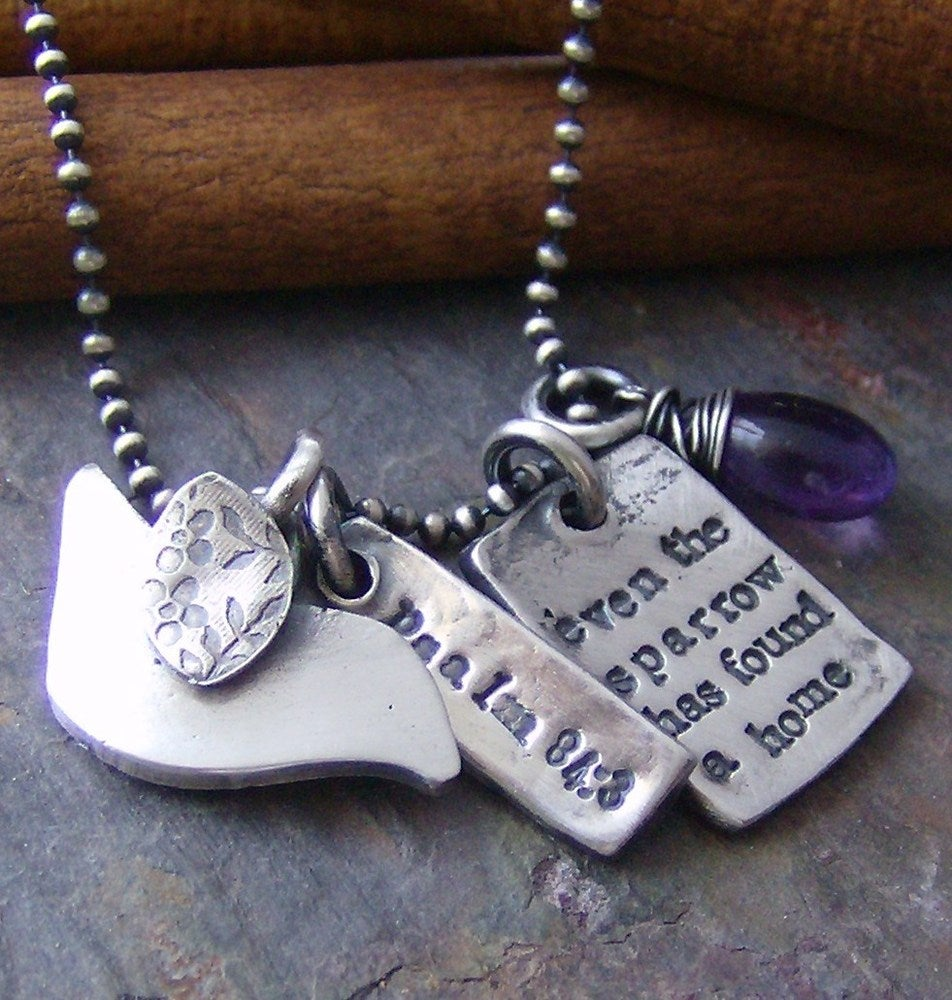 Image of Even the sparrow  hand stamped fine silver and gem stone bird necklace