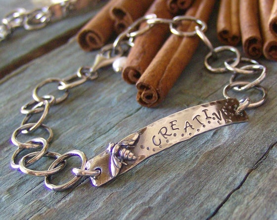 Image of Just Bee.... hand stamped sterling silver id style bracelet.