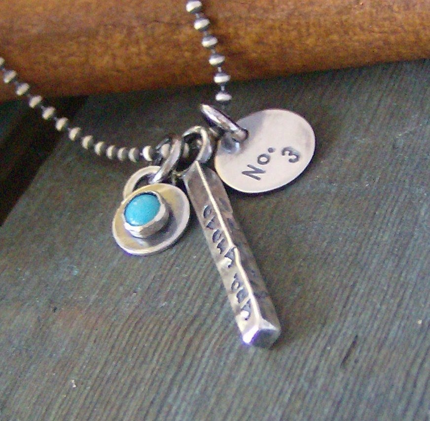 Image of 4 sided bar hand stamped sterling silver and gem stone necklace