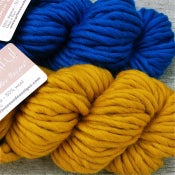 "Image of Alpaga & laine ""Beautiful"", blue mediterranean / happy mustard"