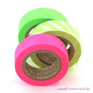 Image of Washi Masking Tape 3er neon grün + pink + Streifen
