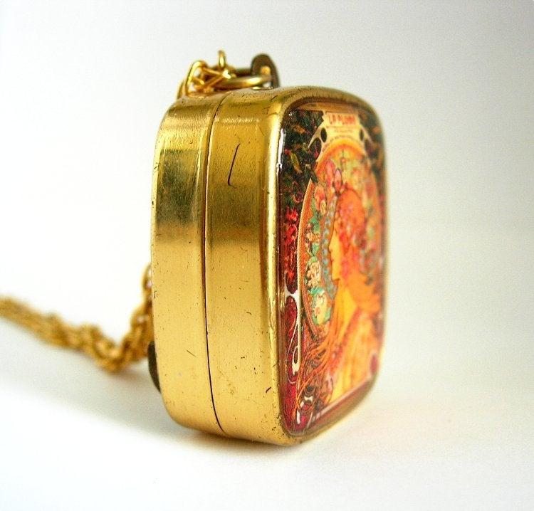 Image of Mucha Zodiac Music Box Pendant