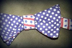 """Image of """"Never Forget"""" Reversible Free Hand Bow Tie"""