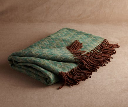 Image of Green and Beige Baby Alpaca Throw BC-137