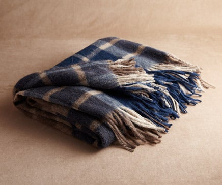 Image of Cream, Tan and Lapis Plaid Baby Alpaca Throw BC-142