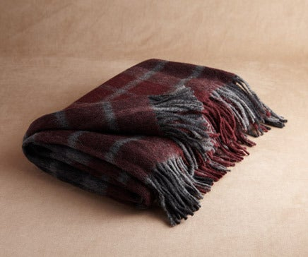 Image of Wine, Charcoal and Dove Grey Plaid Baby Alpaca Throw BC-143