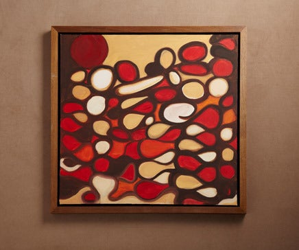 Image of Abstract Painting Oil on Canvas with Hand Oiled Walnut Frame BC-166