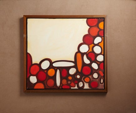 Image of Abstract Painting Oil on Canvas with Hand Oiled Walnut Frame 2 BC-167