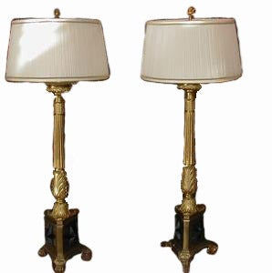 Image of Huge Pair French Empire Gilt Bronze Pricket Lamps c1820
