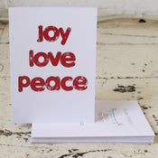 Image of Peace Love Joy Pack of Five Christmas Cards