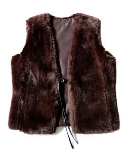 Image of Faux Fur Brown Vest